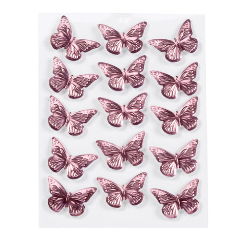 Martha Stewart Crafts - 3 Dimensional Stickers with Foil Accents - Mini Metallic Butterflies