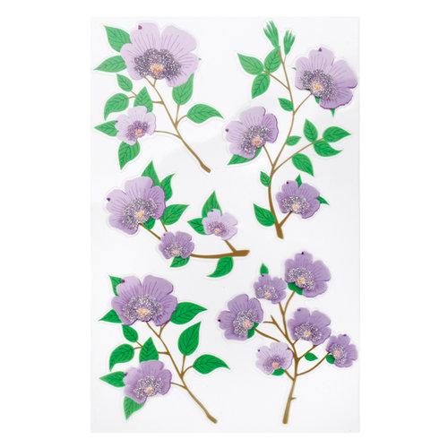 Martha Stewart Crafts - Stickers with Glitter Accents - Purple Blossom