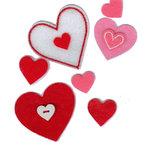 Martha Stewart Crafts - Valentine - Die Cut Pieces - Felt and Button Hearts, CLEARANCE