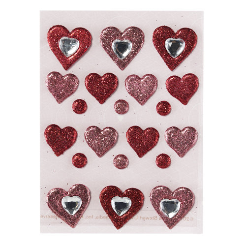 Martha Stewart Crafts - Valentine - Glitter Brads with Gem Accents - Hearts