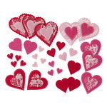 Martha Stewart Crafts - Valentine - Felt Die Cut Pieces with Lace Accents - Hearts