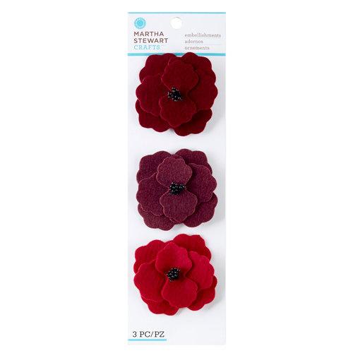 Martha Stewart Crafts - Vintage Collection - Felt Flowers - Red Poppies