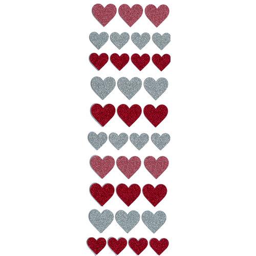 Martha Stewart Crafts - Valentine - Glitter Stickers - Hearts, CLEARANCE