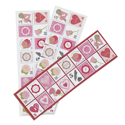 Martha Stewart Crafts - Valentine - Cardstock Stickers with Glitter and Varnish Accents - Stamps