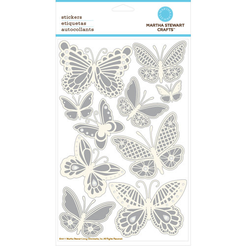 Martha Stewart Crafts - Doily Lace Collection - Embossed Stickers with Foil and Gem Accents - Butterflies