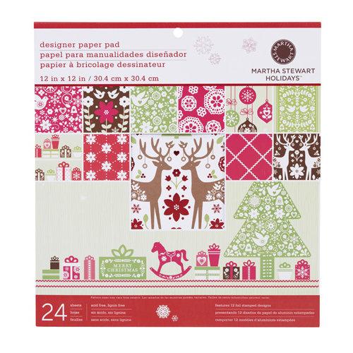 Martha Stewart Crafts - Christmas - 12 x 12 Designer Paper Pad - Scandinavian