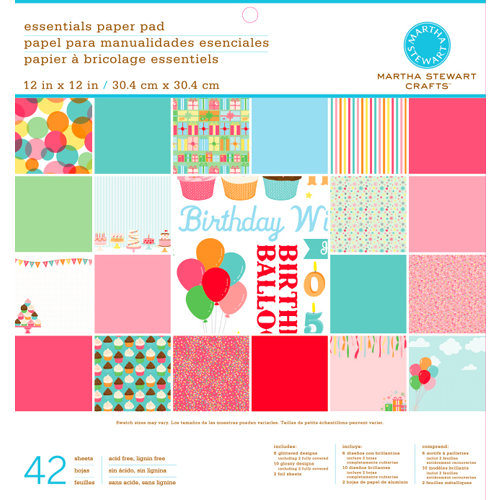 Martha Stewart Crafts - Modern Festive Collection - 12 x 12 Essentials Paper Pad