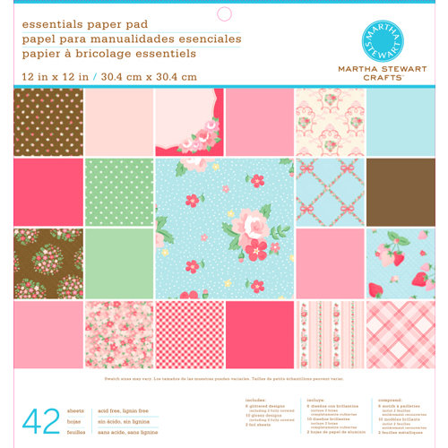 Martha Stewart Crafts - Vintage Girl Collection - 12 x 12 Essentials Paper Pad