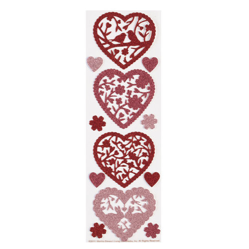 Martha Stewart Crafts - Valentine's Day Collection - Glitter Stickers - Die Cut Hearts
