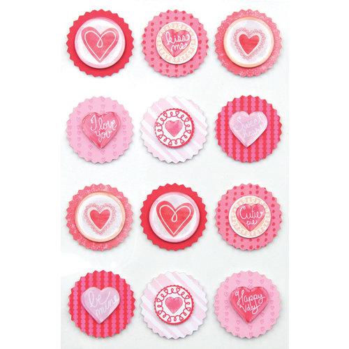 Martha Stewart Crafts - Valentine Collection - Layered Stickers with Epoxy Accents - Round Icon
