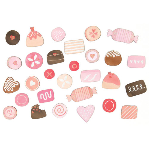 Martha Stewart Crafts - Valentine Collection - Chipboard Die Cuts with Glitter Accents - Candy