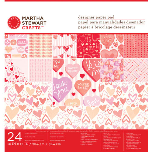 Martha Stewart Crafts - Valentine Collection - 12 x 12 Designer Paper Pad