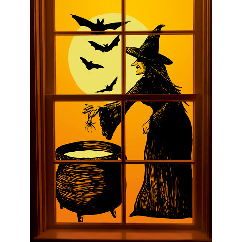 martha stewart crafts elegant witch collection halloween window clings - Halloween Window Clings