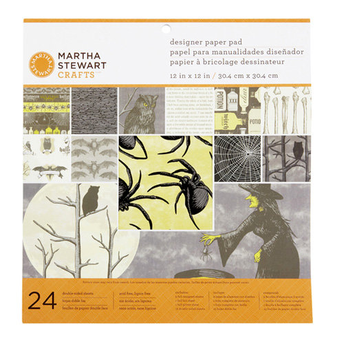 Martha Stewart Crafts - Elegant Witch Collection - Halloween - 12 x 12 Designer Paper Pad
