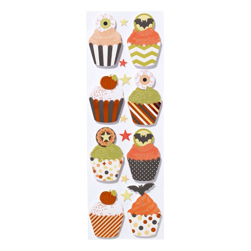 Martha Stewart Crafts - Halloween Collection - Layered Stickers with Foil Accents - Carnival Cupcake