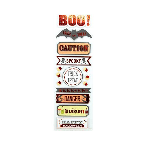 Martha Stewart Crafts - Halloween Collection - Layered Stickers with Foil Accents - Carnival Phrase