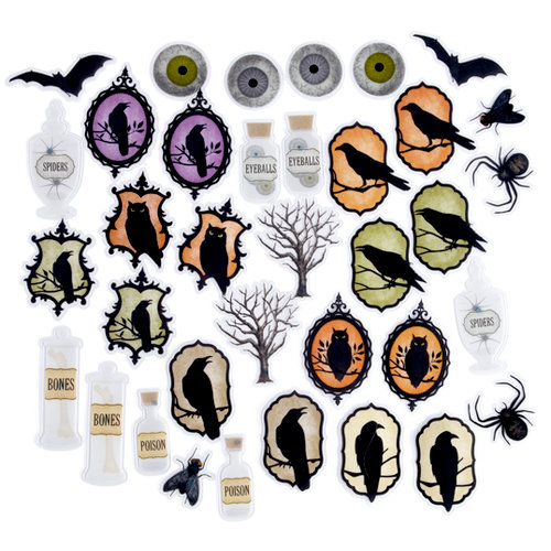 Martha Stewart Crafts - Halloween Collection - Self Adhesive Die Cuts with Glitter Accents - Haunted