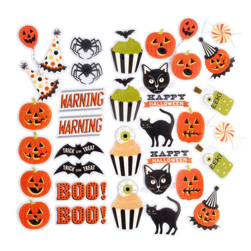 Martha Stewart Crafts - Halloween Collection - Self Adhesive Die Cuts with Glitter Accents - Carnival