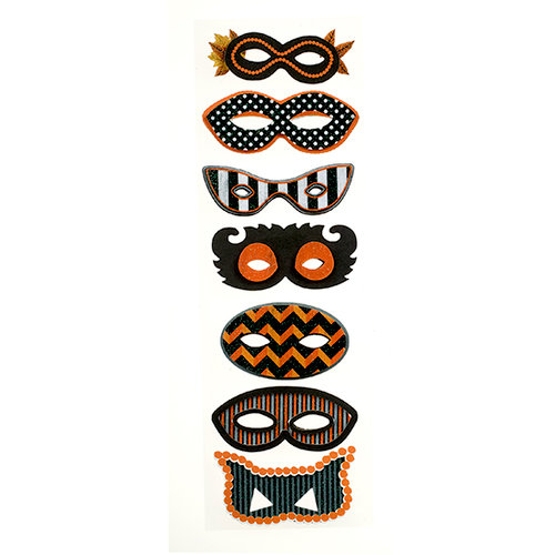 Martha Stewart Crafts - Animal Masquerade Collection - Halloween - 3 Dimensional Stickers with Glitter Accents - Masks