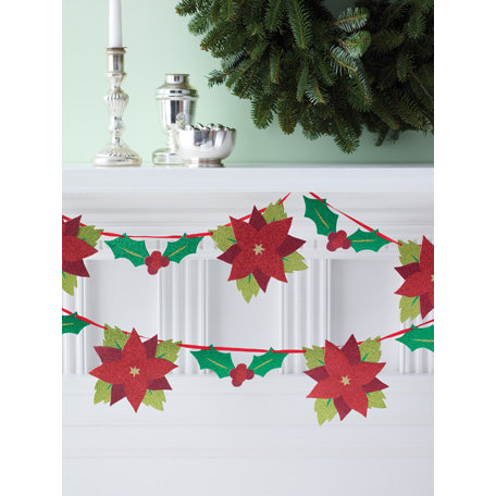 Martha Stewart Crafts - Woodland Collection - Christmas - Glittered Garland - Poinsettia