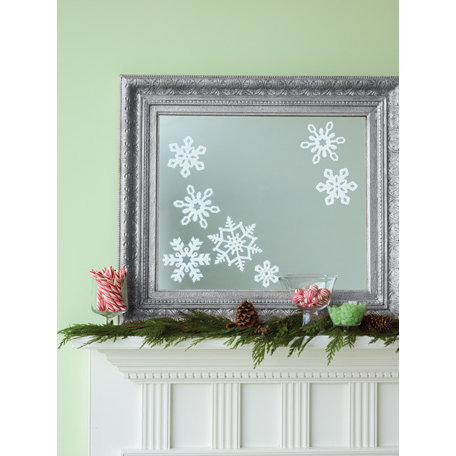 Martha Stewart Crafts - Snowflace Collection - Christmas - Glittered Mirror Clings