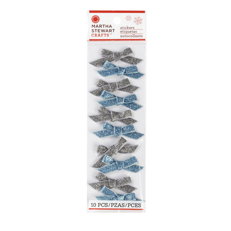 Martha Stewart Crafts - Snowflace Collection - Christmas - Ribbon Stickers - Silver and Blue