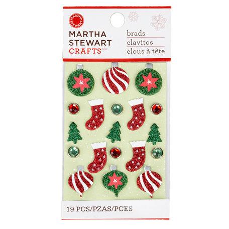 Martha Stewart Crafts - Woodland Collection - Christmas - Metal Brads - Icon