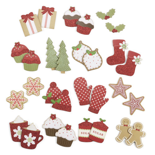 Martha Stewart Crafts - Cottage Christmas Collection - Chipboard Die Cuts with Glitter Accents