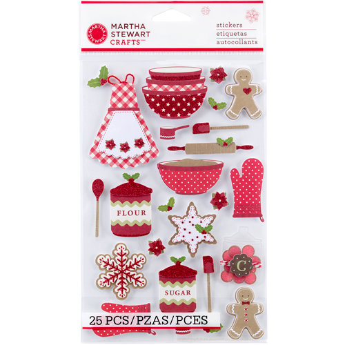 Martha Stewart Crafts - Cottage Christmas Collection - 3 Dimensional Stickers with Glitter Accents - Baking
