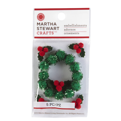 Martha Stewart Crafts - Cottage Christmas Collection - 3 Dimensional Stickers - Holly and Wreath