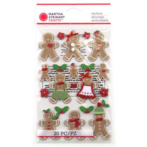 Martha Stewart Crafts - Cottage Christmas Collection - 3 Dimensional Stickers with Glitter Accents - Gingerbread