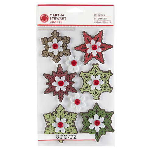 Martha Stewart Crafts - Cottage Christmas Collection - 3 Dimensional Stickers - Snowflake