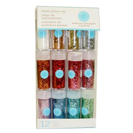 Martha Stewart Crafts - Tinsel Glitter Embellishment Variety - 12 Piece Set