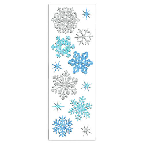 Martha Stewart Crafts - Holiday - Glitter Stickers - Snowflakes - Silver and Blue, BRAND NEW