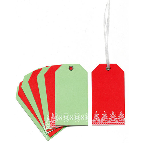 Martha Stewart Crafts - Holiday - Tags - Red Scroll, CLEARANCE