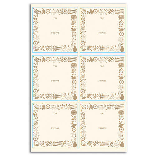 Martha Stewart Crafts - Holiday - Self Adhesive Icon Labels - Golden Frame