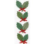 Martha Stewart Crafts - Holiday - Glitter Stickers - Holly Leaf