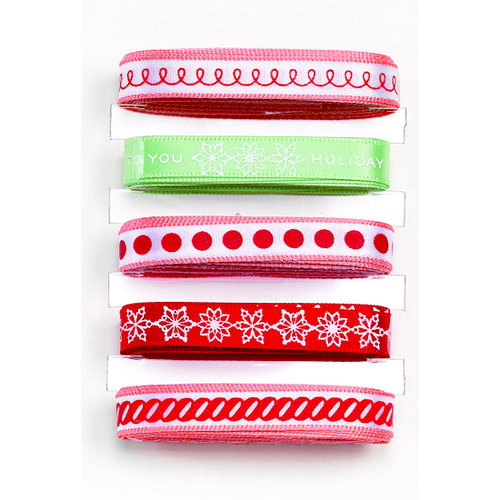 Martha Stewart Crafts - Holiday - Ribbon Pack - Frosty Gingerbread, BRAND NEW