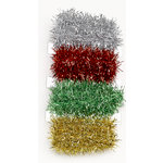 Martha Stewart Crafts - Holiday - Ribbon Pack - Tinsel - Silver Red Green and Gold, BRAND NEW