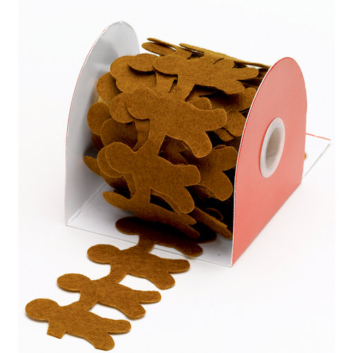 Martha Stewart Crafts - Holiday - Die Cut Felt Ribbon - Gingerbread, BRAND NEW