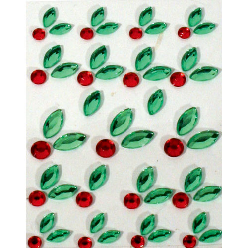 Martha Stewart Crafts - Holiday - Bling - Gemstone Stickers - Holly, BRAND NEW
