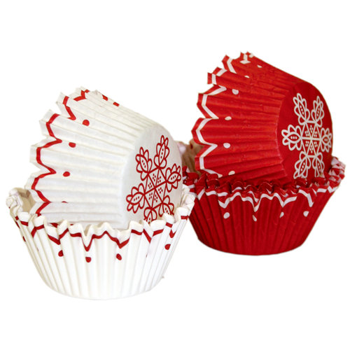 Martha Stewart Crafts - Holiday - Cupcake Wrappers - Red Scalloped, BRAND NEW