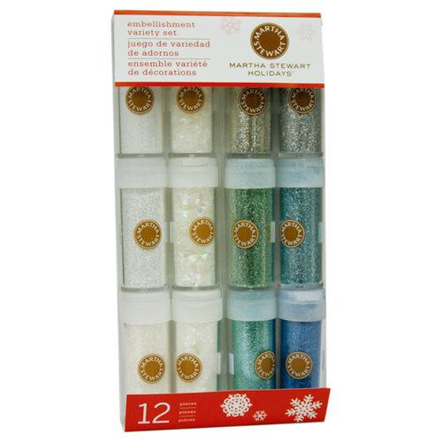 Martha Stewart Crafts - Holiday - Glitter Embellishment Variety - 12 Piece Set - Wintery, BRAND NEW