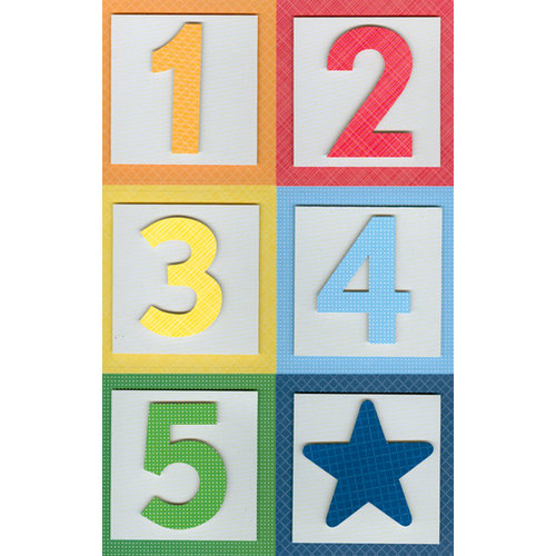 Martha Stewart Crafts - 3 Dimensional Stickers - Block Numbers - Bright, CLEARANCE