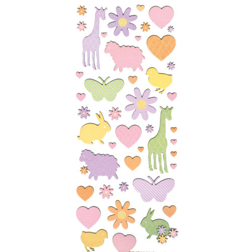 Martha Stewart Crafts - Glitter and Flocked Chipboard Stickers - Girl Flower and Animal, CLEARANCE