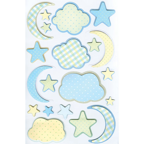 Martha Stewart Crafts - 3 Dimensional Stickers - Blue Cloud and Moon, CLEARANCE