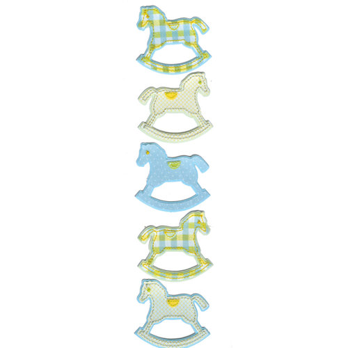 Martha Stewart Crafts - Stitched Fabric Stickers - Rocking Horse - Blue and Green, CLEARANCE
