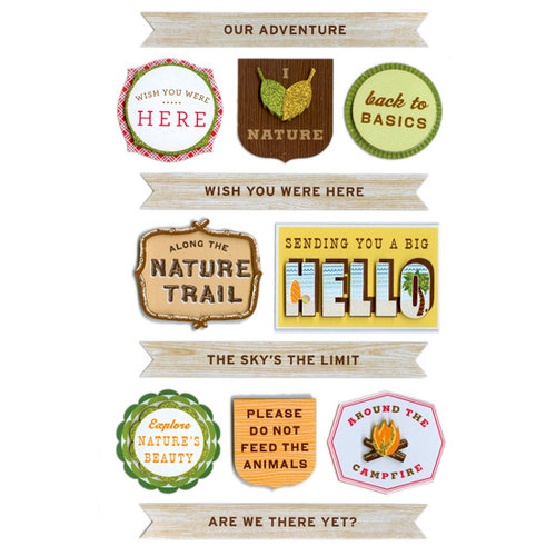 Martha Stewart Crafts - 3 Dimensional Stickers - Woodland Phrases