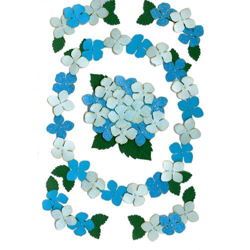 Martha Stewart Crafts - 3 Dimensional Glittered Stickers - Pansies - Blue