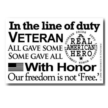 Memories In Uniform - Rub Ons - With Honor